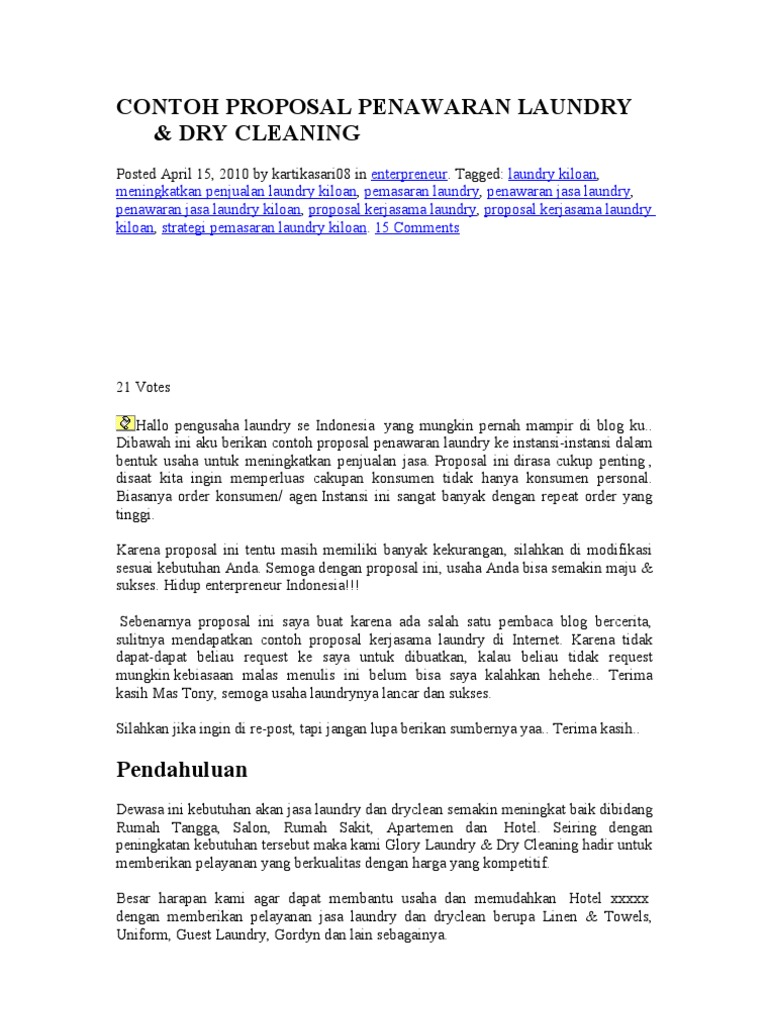Contoh proposal penawaran laundry 1536680819v1 altavistaventures Gallery