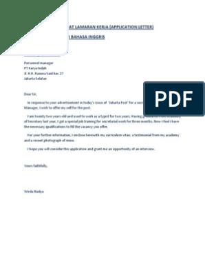 Contoh Surat Lamaran Kerja Dalam Inggris Dan Indonesia Jakarta Business