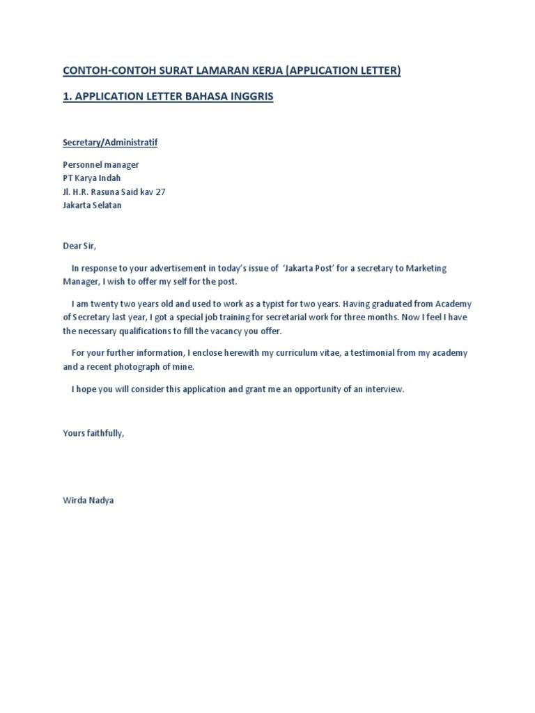 Contoh Surat Lamaran Kerja Dalam Inggris Dan Indonesia Jakarta