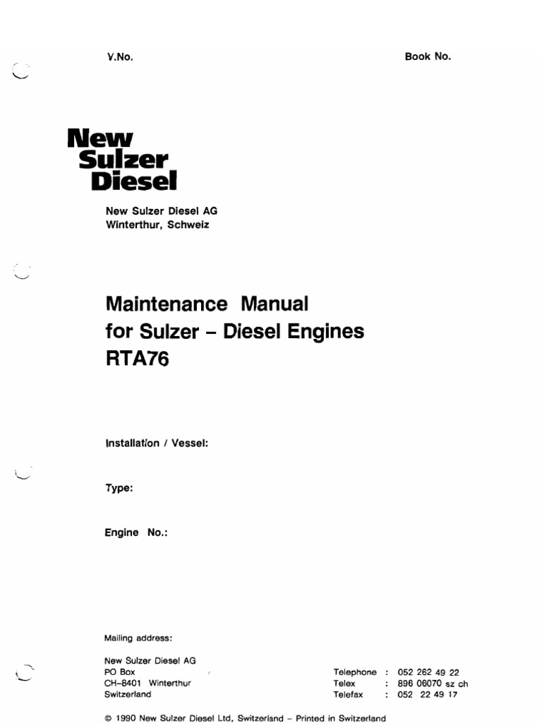maintenance manual for sulzer diesel engines rta76 cylinder rh scribd com Sulzer Diesel Engines Specifications RTA96-C Turbocharged