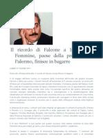 CUTINO Il Ricordo Di Falcone a Isola Delle Femmine, Paese Della Provincia Di Palermo, Finisce in Bagarre PDF