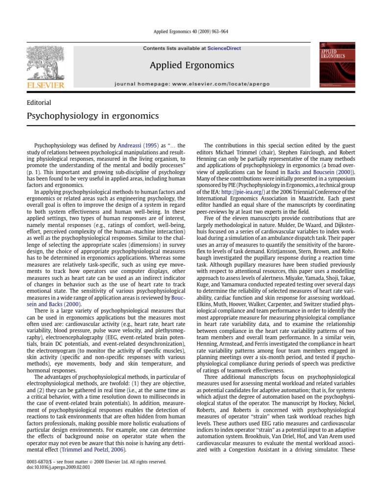 Psycho Physiology in Ergonomics | Psychophysiology | Human Factors And  Ergonomics