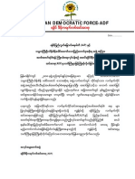Arakan Democratic Force to Ceasefire-letter