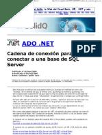 Ado.Net Cadena conexión a SQL
