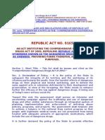 IRR of Republic Act No. 9165