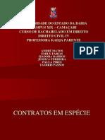 APRESENTAÇÃO DE CONTRATOS EM ESPÉCIE