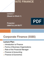 Corporate Finance (5585)-Lecture 1