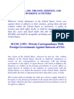 Private Correspondence With Foreign Governments Against Interests of USA