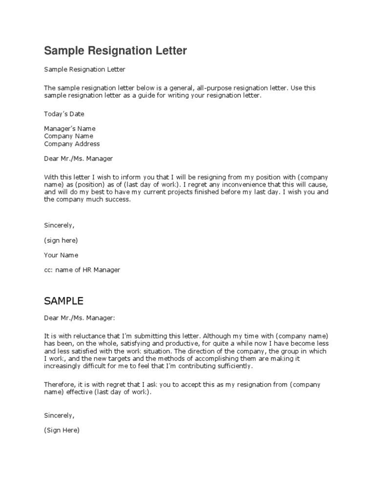 sample resignation letter to manager