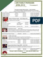 April 2012 Calendar of Events
