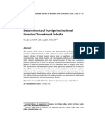 Determinants of FII in India- econometric model