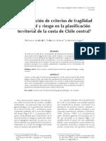 Incorporacion de Criterios de Fragilidad Ambiental y Riesgo en La Planificacion Territorial de La Costa de Chile Central