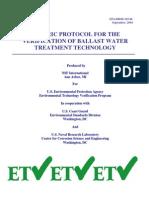 EPA ETV Ballast Water Protocol 600r10146