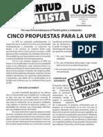 Cinco propuestas para la UPR, Boletín #5, Abril 2012