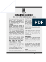 BBA Admission Circulation 20011-12