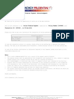 Icici Prudential Life Insurance Premium Paid Certificate ...