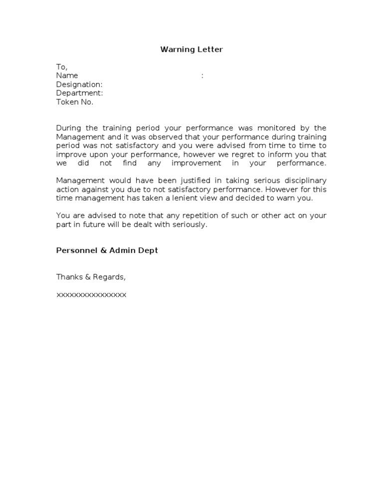 Poor Performance Warning Letter Format