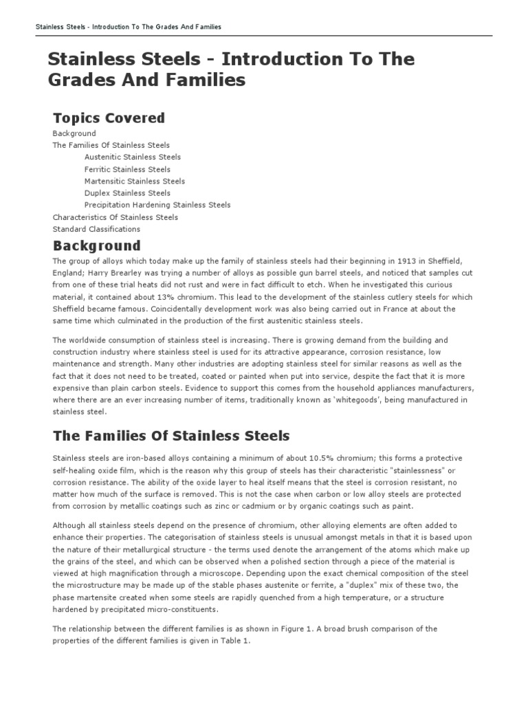 The main stainless steels: grades, characteristics 35