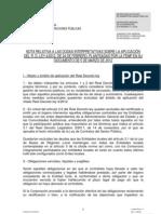 Nota informativa de la FEMP sobre el Real decreto ley 4/2012 del 24 febrero.