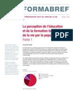 Formabref - La perception de l'éducation et de la formation tout au long de la vie par la population active