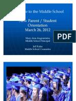 Middle School Parent Student Orientation(March 26, 2012)