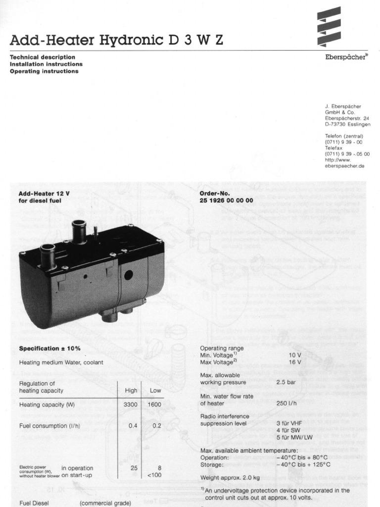 Webasto diesel heater Operation Manual
