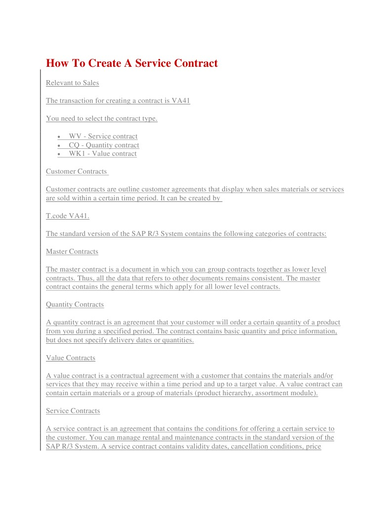 Create Quantity Contract Business Technology