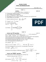 2nd Puc Mathematics Model Paper Above Average