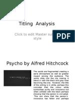 Titling Analysis