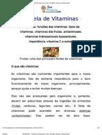 VITAMINAS - Tabela de Vitaminas, tipos, funções, fontes, avitaminoses