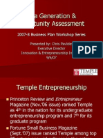 Workshop Idea Generation and Opportunity Assessment