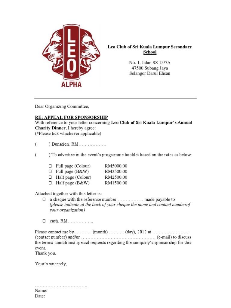 Reply For Sponsorship Letter
