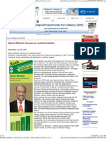 Bio Spectrum India - The Business of Biotech - Spinco Biotech Focuses on Customerization