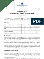 Monetary Developments Euro Area Feb 2012