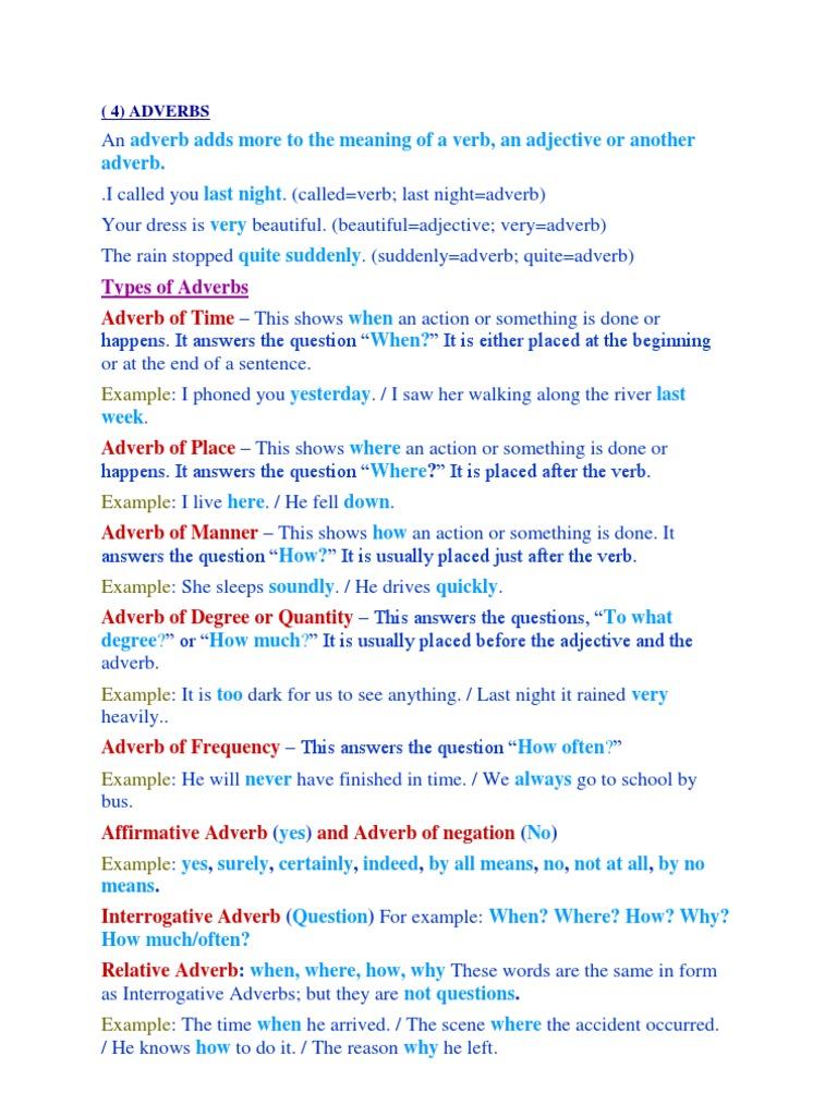 Adverbs English Grammar Adverb