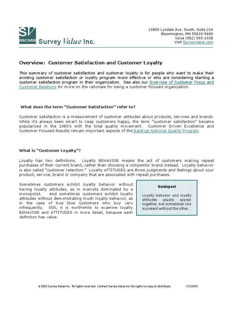 overview customer sat ocs0301 | customer satisfaction | survey