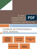 El rol del fonoaudiólogo en los contextos Educativos