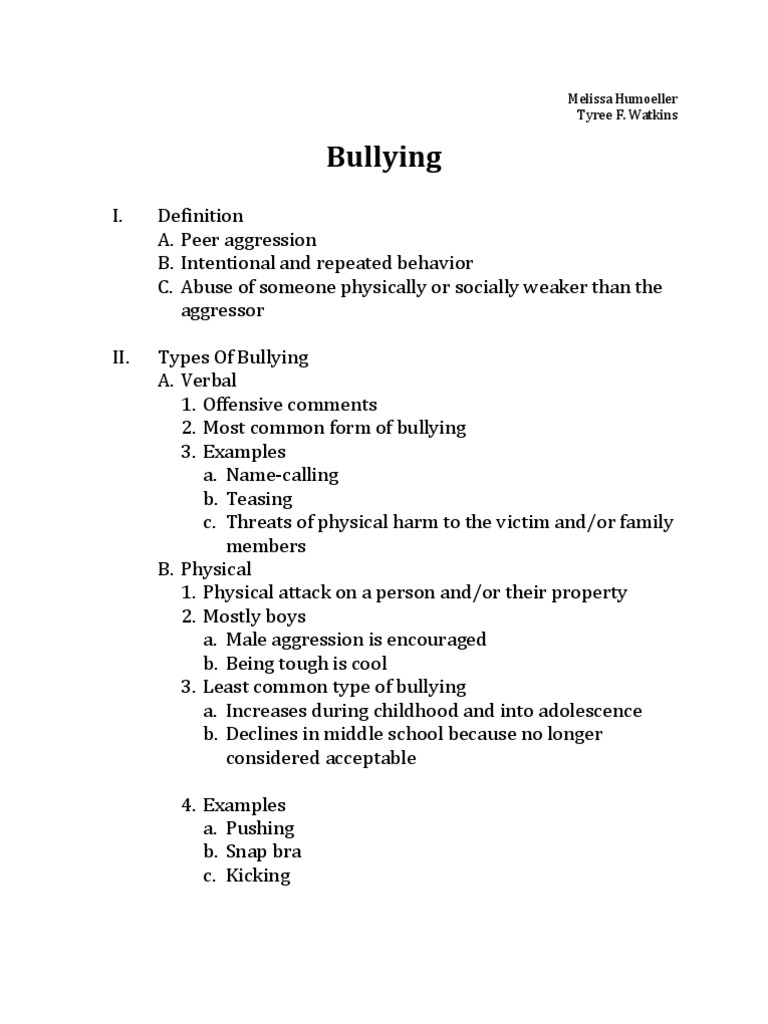 School bullying essay outline