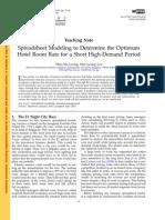 Price Demand Spreadsheet Modeling
