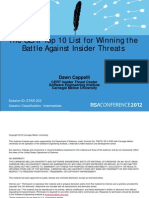 The CERT Top 10 List for Winning the Battle Against Insider Threats