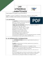 LAS CATEGORIAS GRAMATICALES