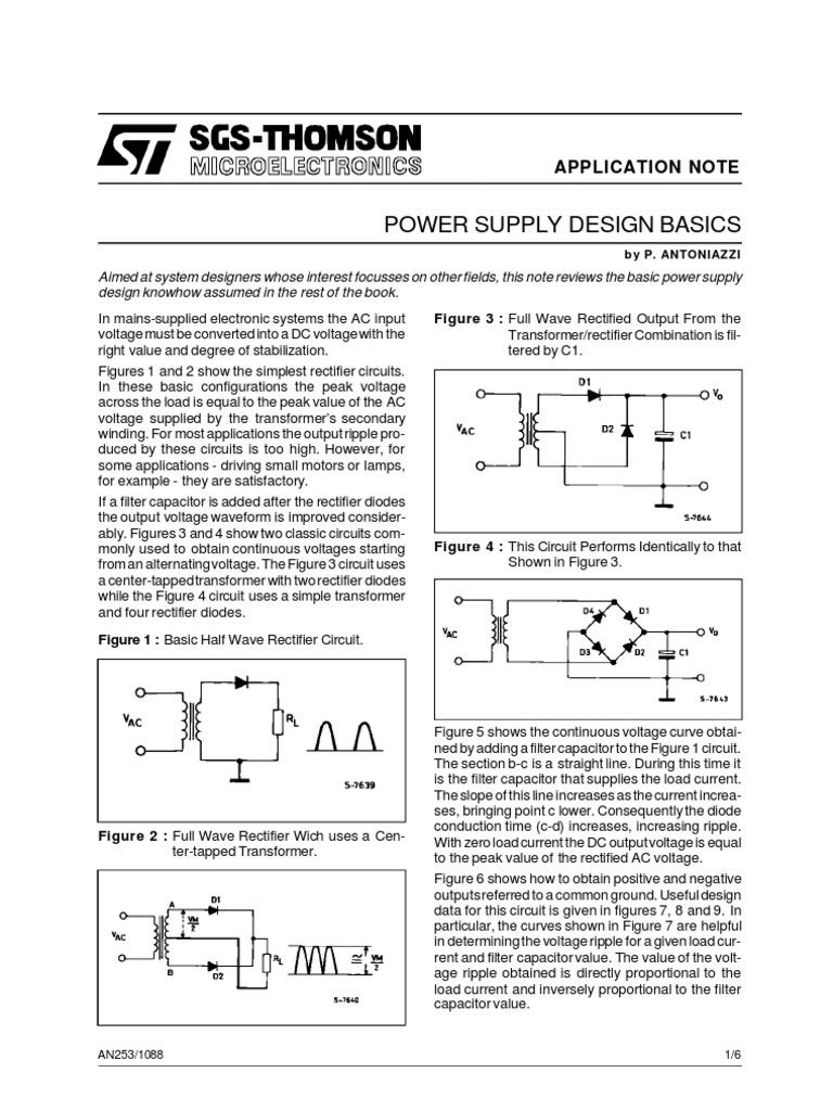 Pwrsupdesbasic Rectifier Operational Amplifier Transformer Circuit
