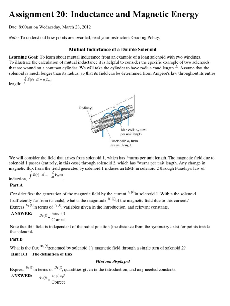 MP EM Ass 20: Inductance and Magnetic Energy | Inductance ...