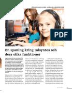 En spaning kring talsyntes och dess olika funktioner, Gunilla Almgren Bäck DIU nr 8, 2011