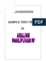 Test Items - Araling Panlipunan IV