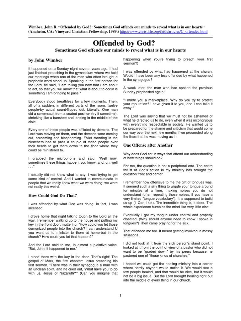 VCF Wimber Offended by God | Sermon | Jesus