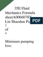 ME2135E Fluid Mechanics Formula SheetA0066078X Lin Shaodun Page