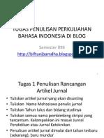 Tugas Penulisan Perkuliahan Bahasa Indonesia Di Blog