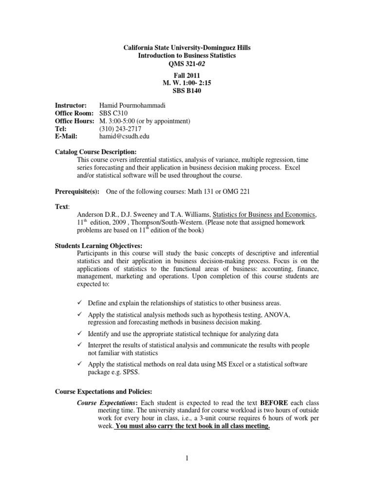 Syllabus 321-02 Fall 11 | Analysis Of Variance | Statistics