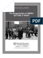 HPAE White Paper - The Reorganization of UMDNJ - Getting It Right - March 2012